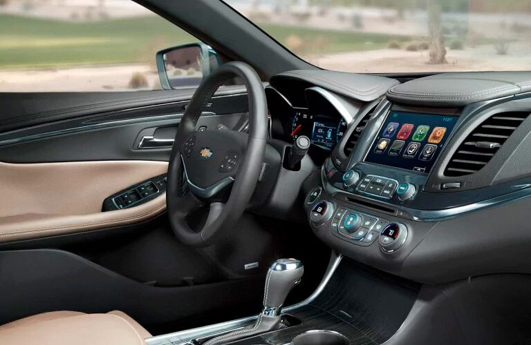 front steering wheel and dashboard view of the 2017 Chevy Impala