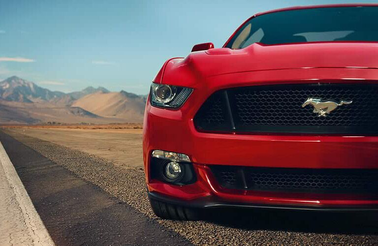 grille close-up of a red 2017 Ford Mustang
