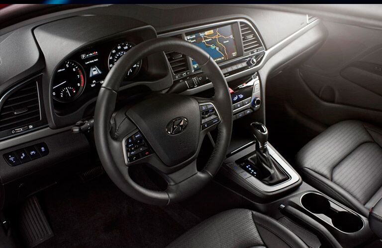 dashboard and steering wheel view of the 2017 Hyundai Elantra