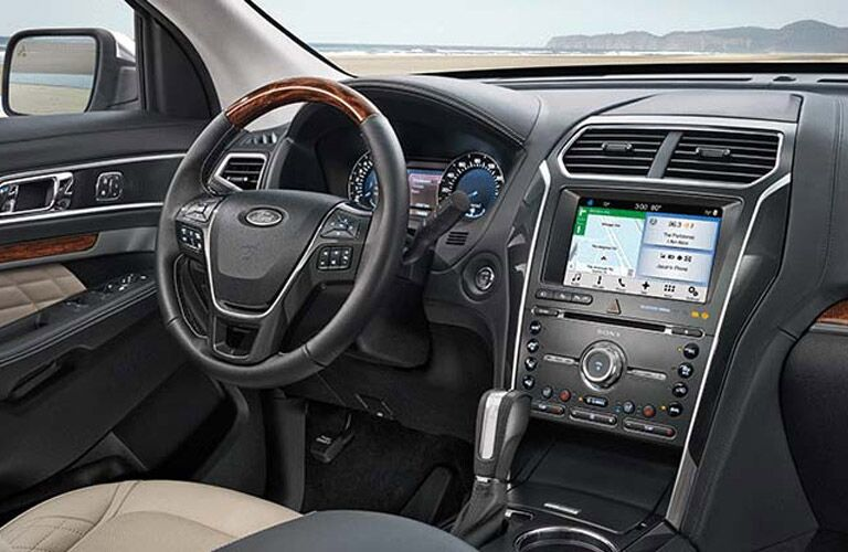 steering wheel and dashboard view of the 2017 Ford Explorer