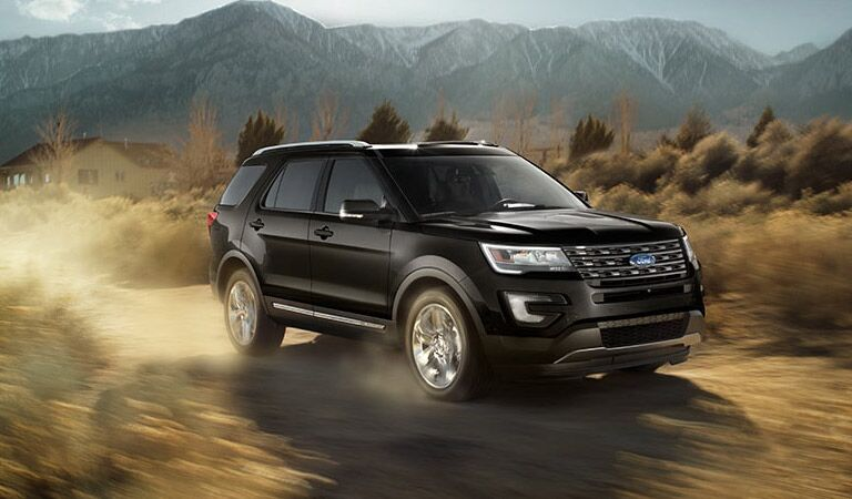 Black Ford Explorer in off-road driving