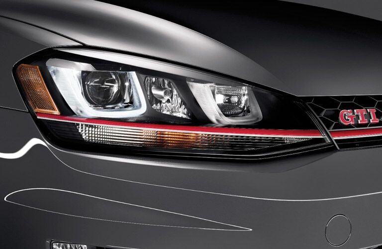 LED headlights of vw golf gti
