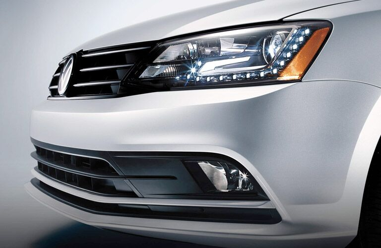 front view of led headlights vw jetta