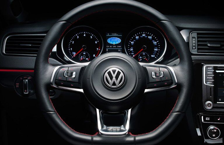2017 Volkswagen Jetta steering wheel and drivers display close up