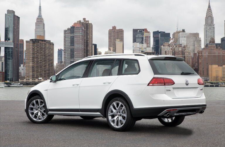 2019 VW Golf Alltrack parked in front of a city