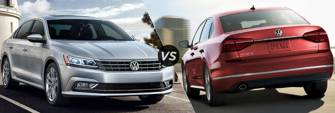 2018_Volkswagen_Passat_vs_2017_Volkswagen_Passat_Silver_Red_Color_Front_Back