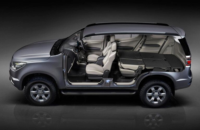 The interior of the discontinued Chevrolet Trailblazer is spacious for passengers and cargo