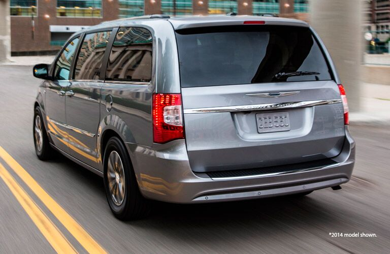 Rear end of used Chrysler Town & Country minivan