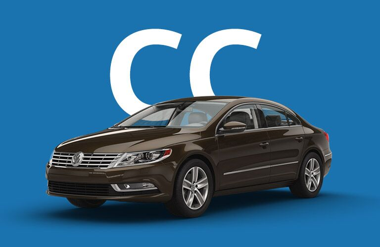 "Black Volkswagen CC sits in front of a blue background and giant white letters that read, ""CC."""