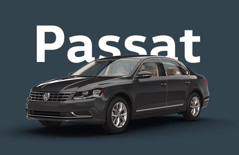 """Black Volkswagen Passat sits in front of a dark ash grey background under white text that reads, """"Passat."""""""