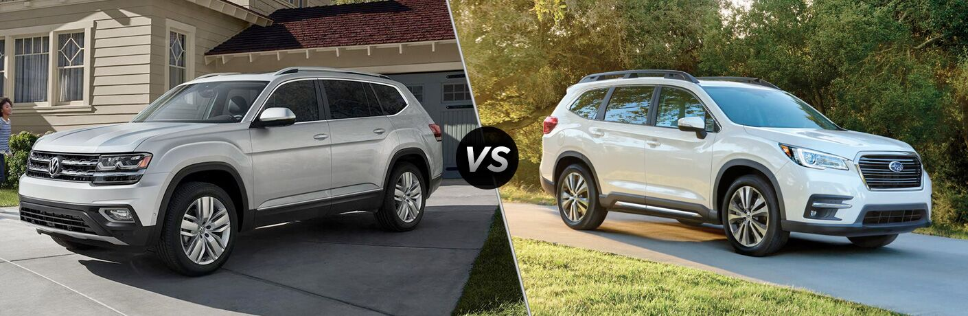 "2019 Volkswagen Atlas and 2019 Subaru Ascent, separated by a diagonal line and a ""VS"" logo."