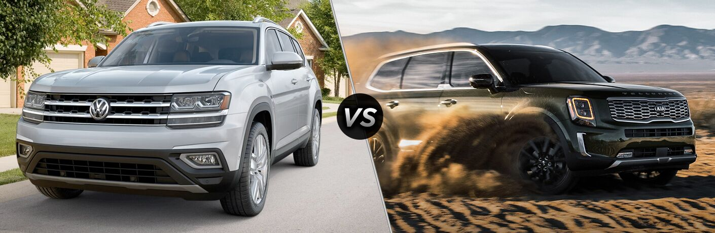 "2019 Volkswagen Atlas and 2020 Kia Telluride, separated by a diagonal line and a ""VS"" logo."