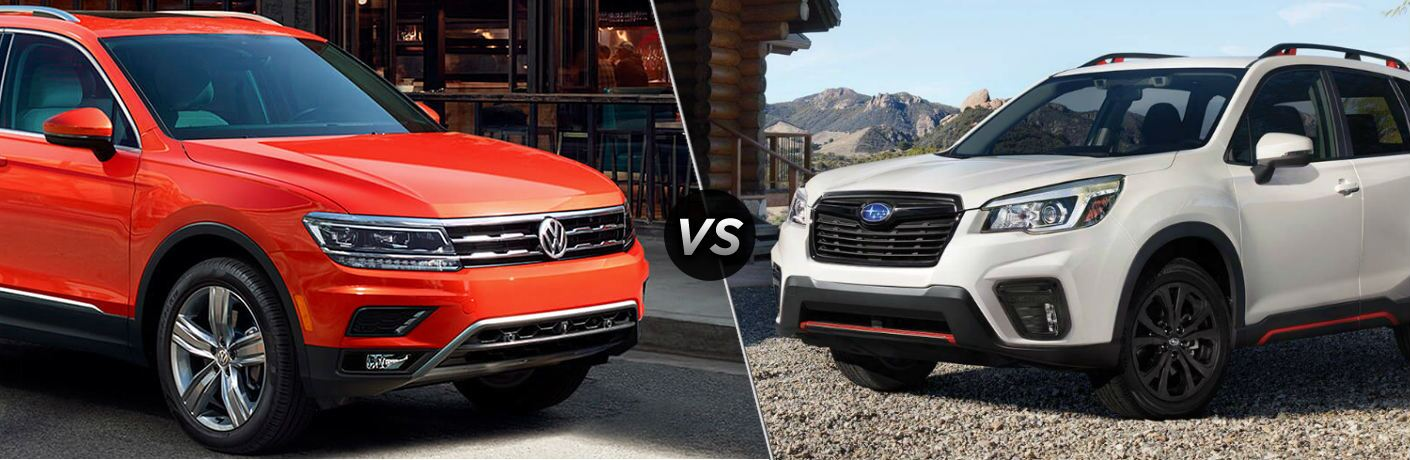 "Orange 2019 Volkswagen Tiguan and white 2019 Subaru Forester, separated by a diagonal line and a ""VS"" logo."
