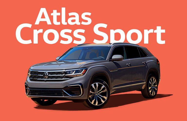 Volkswagen Atlas Cross Sport with text above vehicle