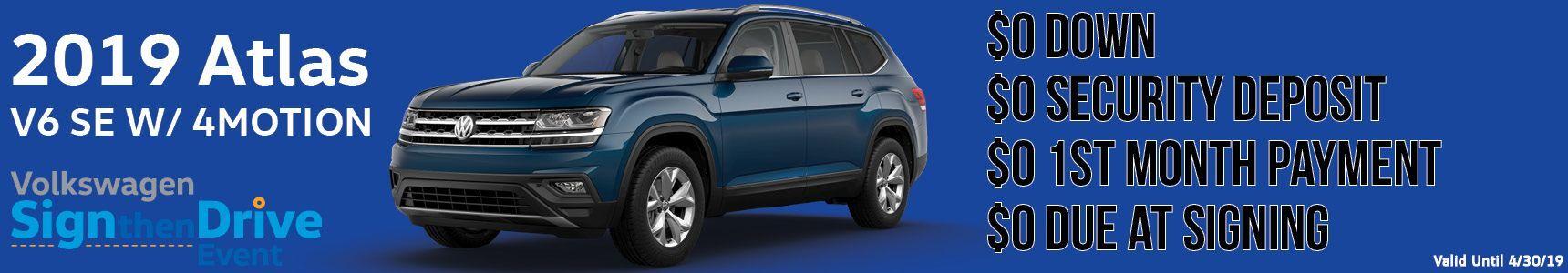 2019 Volkswagen Atlas dealership lease banner