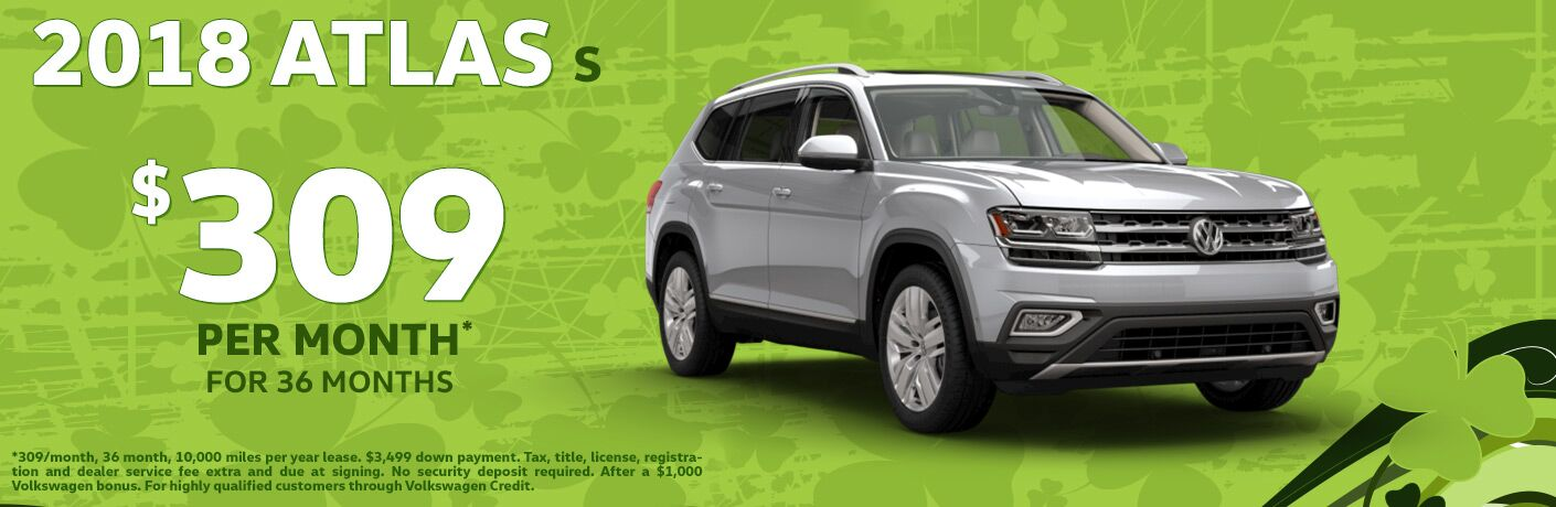 2018 VW Atlas advertisement as a lease offer
