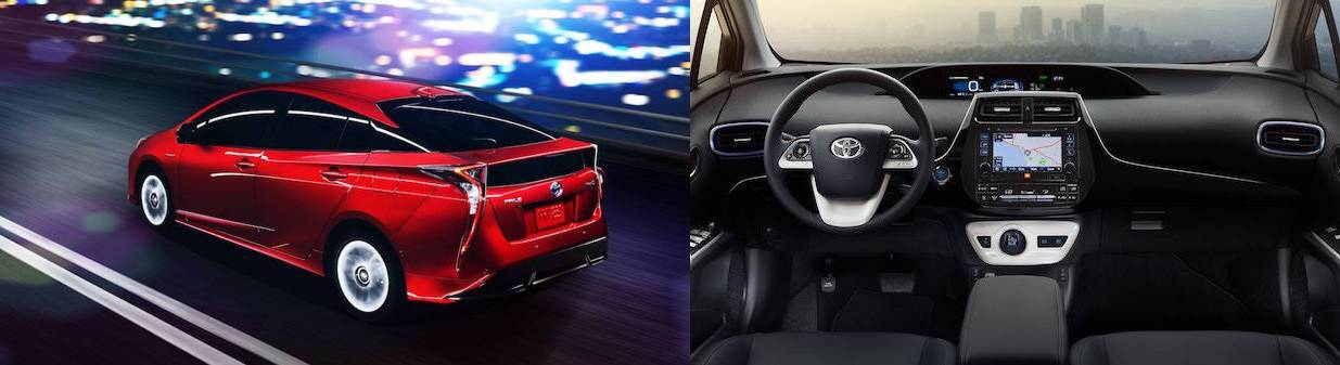 2017 toyota prius side by side interior and exterior