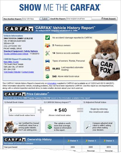 Toyota car Fax Report