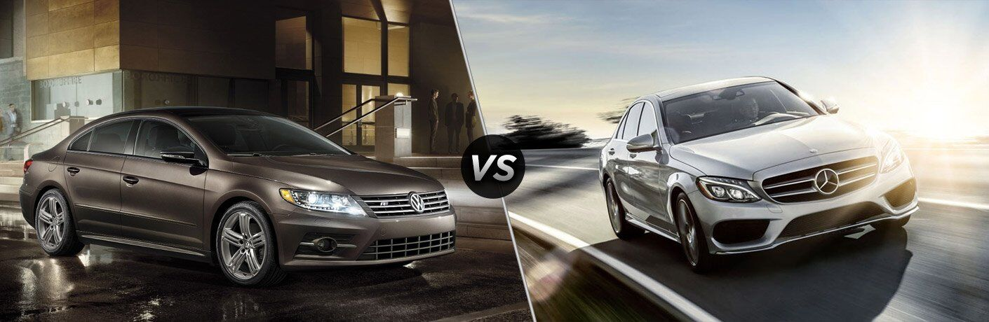 2017 VW CC Front Side View and 2017 Mercedes-Benz C-class Front Side View