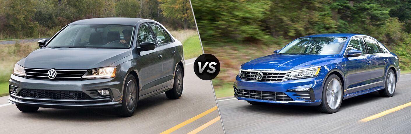 Split screen images of the 2018 Volkswagen Passat and the 2018 Volkswagen Jetta