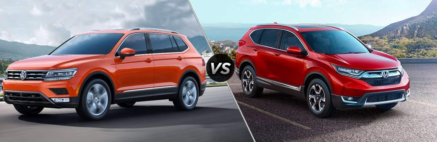 split screen of the 2018 Volkswagen Tiguan and 2017 Honda CR-V