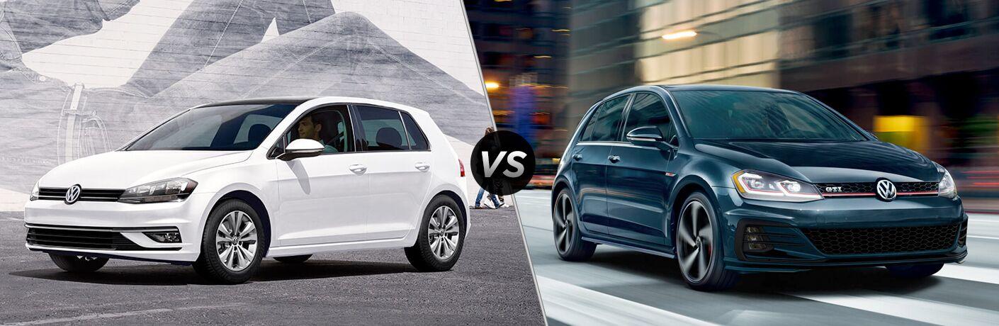 Split screen images of the 2018 Volkswagen Golf and the 2018 Volkswagen Golf GTI
