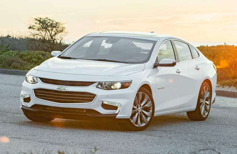 2018 Chevy Malibu white side and front view