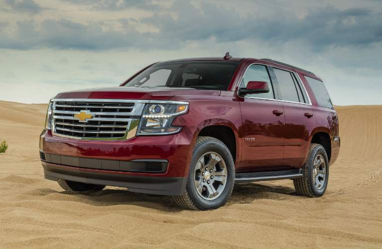 2018 Chevy Tahoe red side view