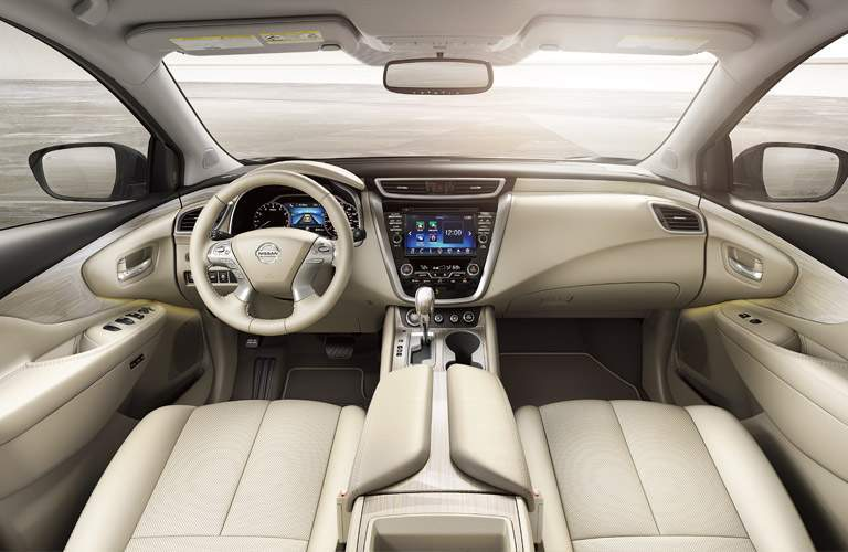 front interior of 2018 nissan murano including seats, dashboard, transmission and steering wheel