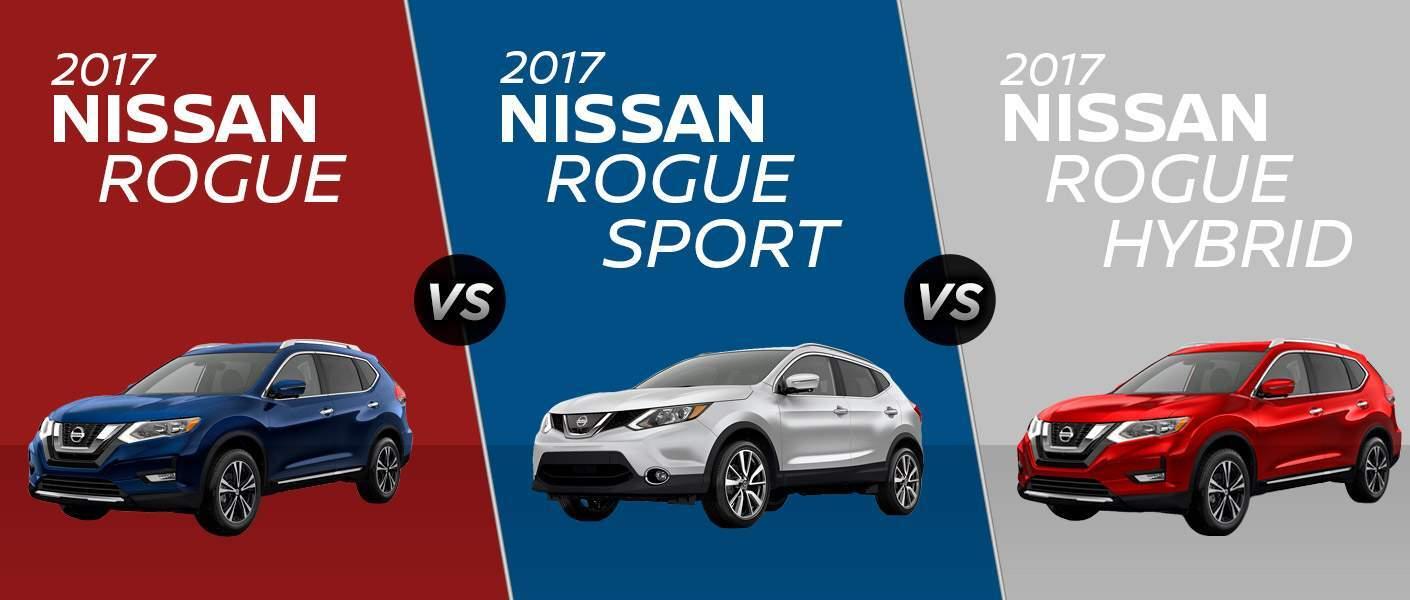 2017 nissan rogue vs 2017 nissan rogue sport vs 2017 nissan rogue hybrid