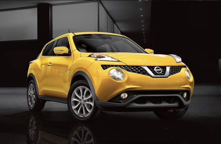 yellow Nissan Juke parked in warehouse