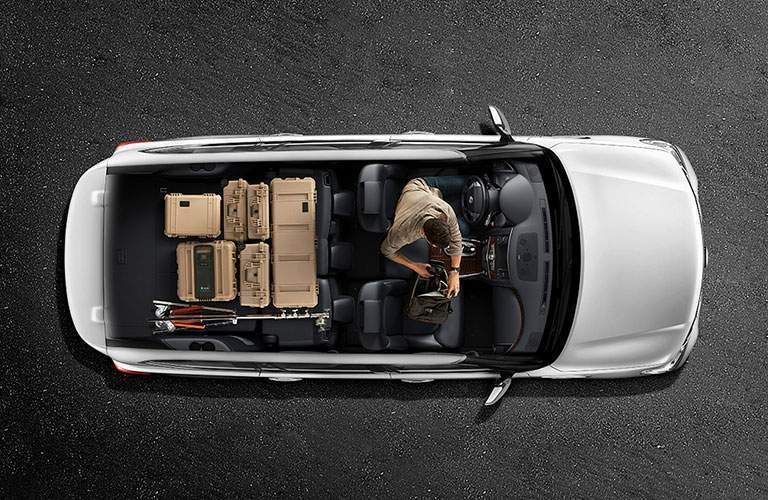 aerial view of 2018 nissan armada seats and cargo space with luggage
