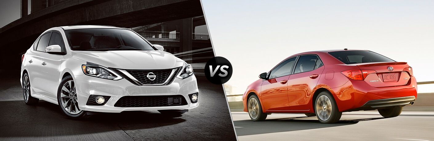 2018 Nissan Sentra front fascia and passenger side vs 2018 Toyota Corolla exterior back fascia and drivers side