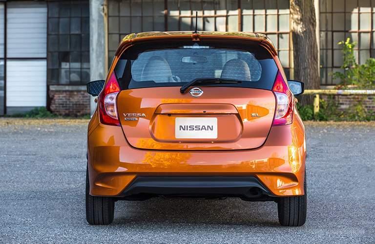 rear bumper view of orange 2018 nissan versa note