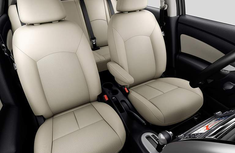view of front and rear seats of 2018 nissan versa from windshield