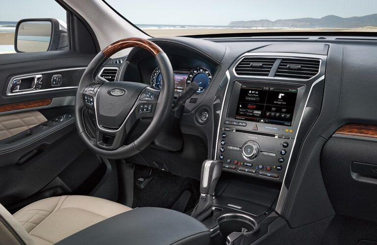 2017 Ford Explorer interior front steering wheel infotainment system