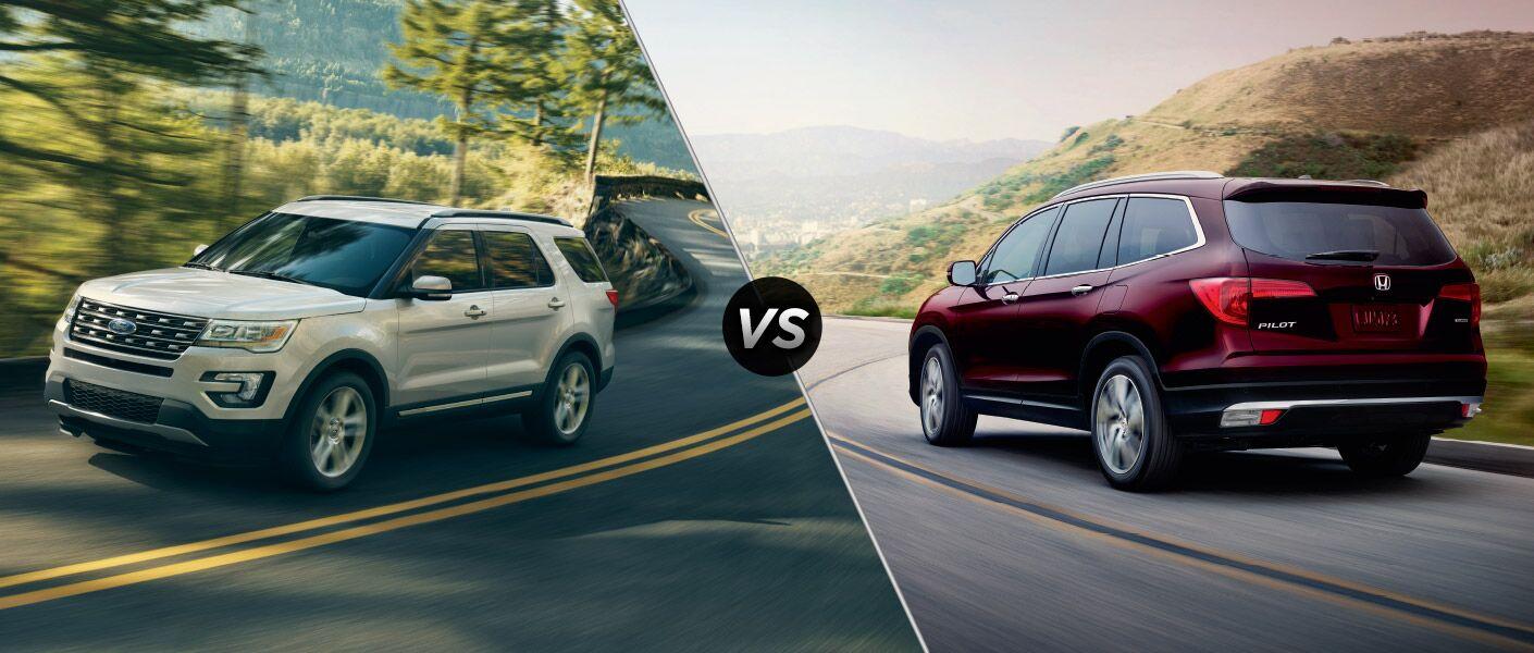 2016 Ford Explorer exterior and 2016 Honda Pilot exterior