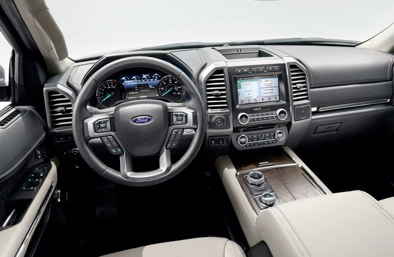 steering wheel and infotainment system of the 2018 Ford Expedition