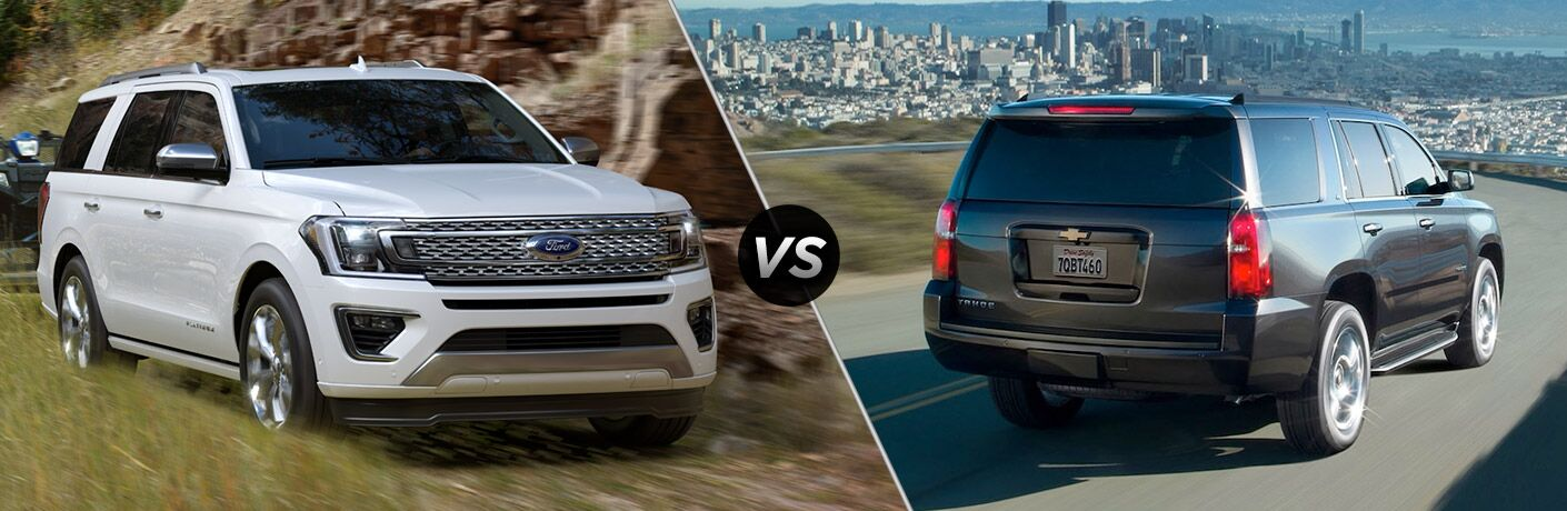 2018 Ford Expedition and 2018 Chevy Tahoe in a comparison image