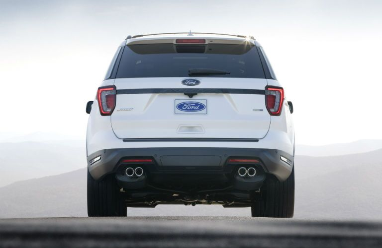 rear of a white 2018 Ford Explorer