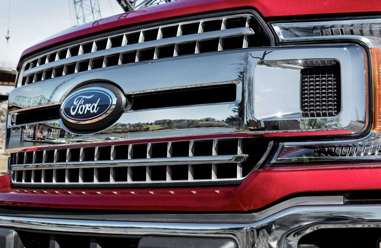 close-up view of the grille of the 2018 Ford F-150 XLT