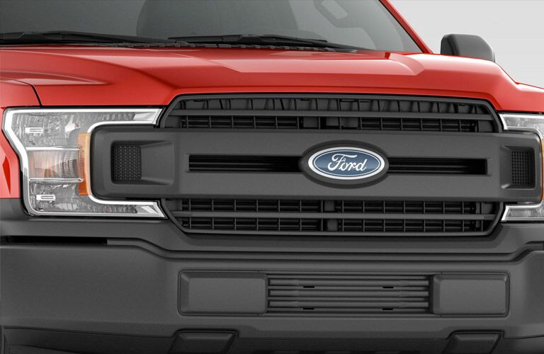close-up view of the grille of the 2018 Ford F-150 XL