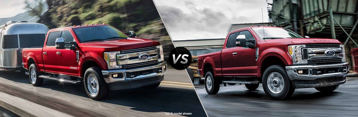 "A red 2019 Ford-250 hauls a trailer along a highway. A red 2019 Ford F-350 sits parks at an industrial site. Both vehicles are separated by a diagonal line and ""VS"" logo."