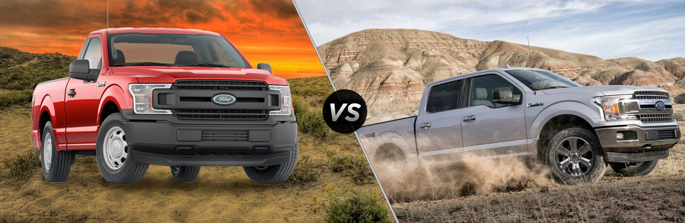 side by side image of the 2018 Ford F-150 XL and XLT trims