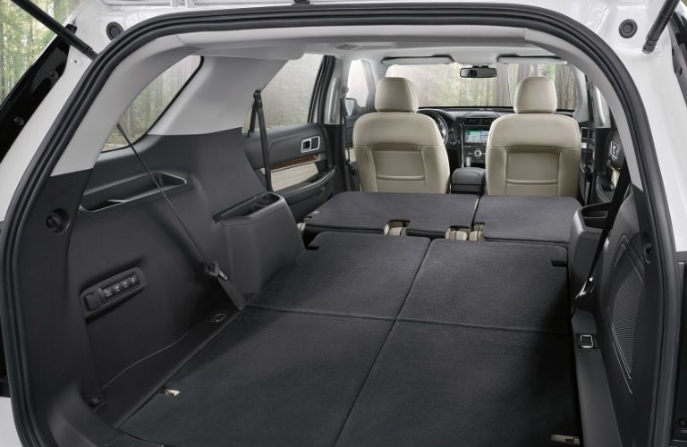 rear cargo area of the 2018 Ford Explorer with all the seats folded down