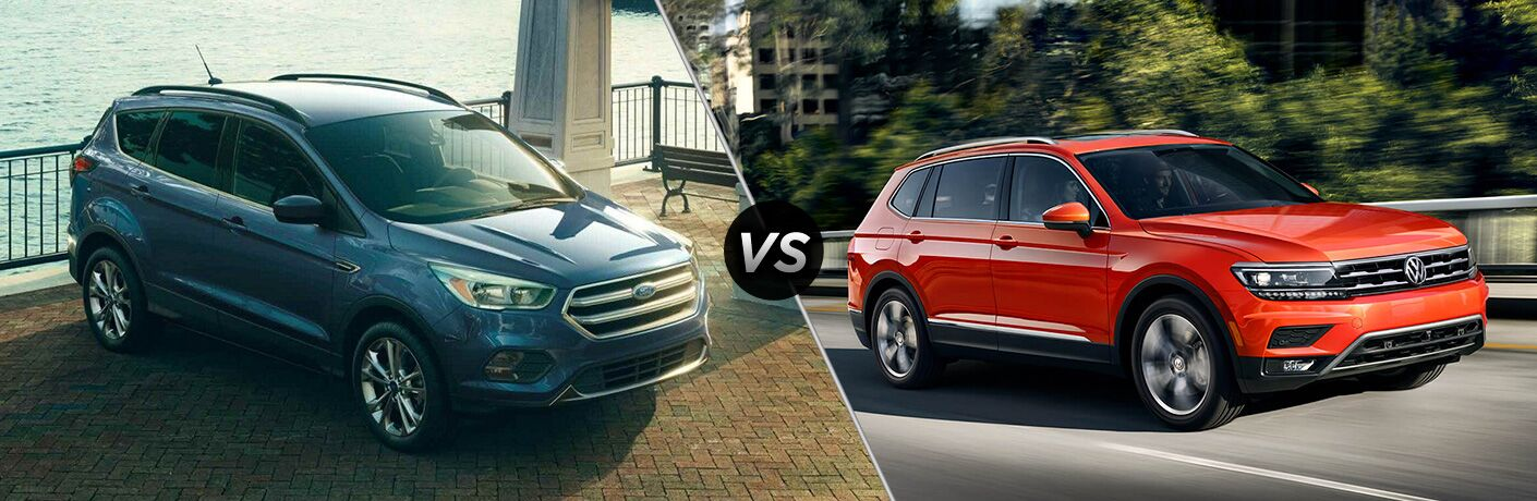 "2019 Ford Escape and 2019 Volkswagen Tiguan, separated by a diagonal line and a ""VS"" logo."