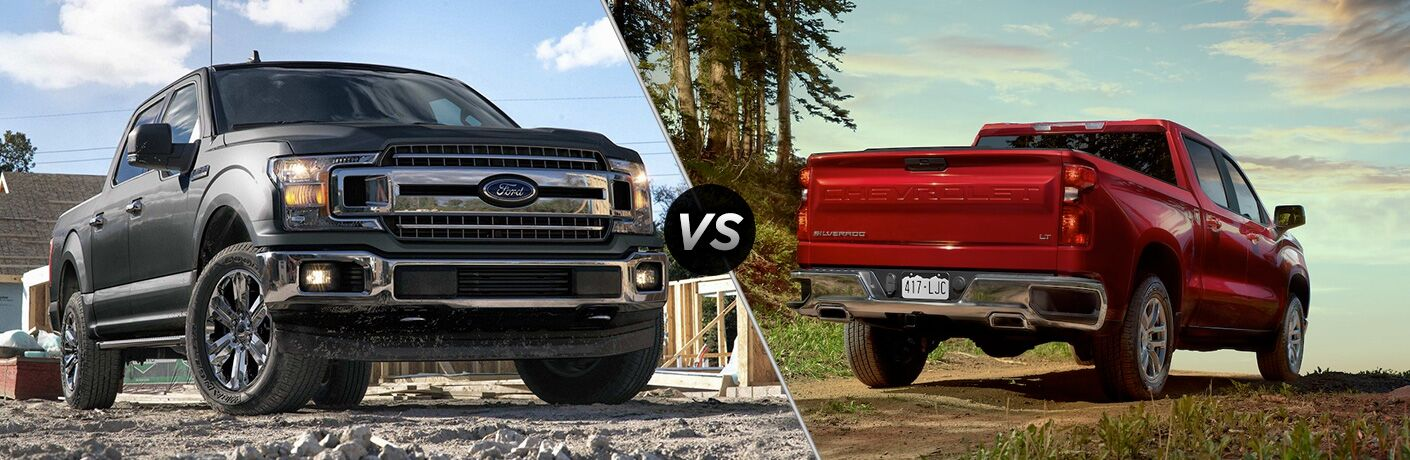 "2019 Ford F-150 and 2019 Chevrolet Silverado, separated by a diagonal line and ""VS"" logo."
