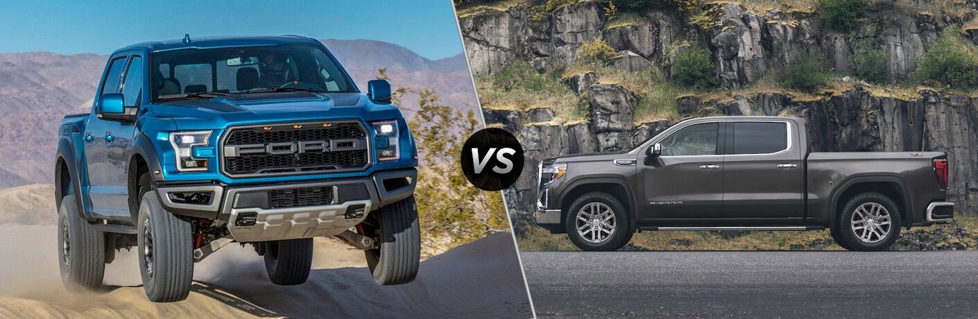 "Blue 2019 Ford F-150 and grey 2019 GMC Sierra 1500, separated by a diagonal line and a ""VS"" logo."