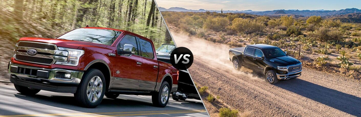 """A red 2019 Ford F-150 on the left. A black 2019 Ram 1500 on the right. The two pictures are separated by a """"VS"""" icon in the center."""