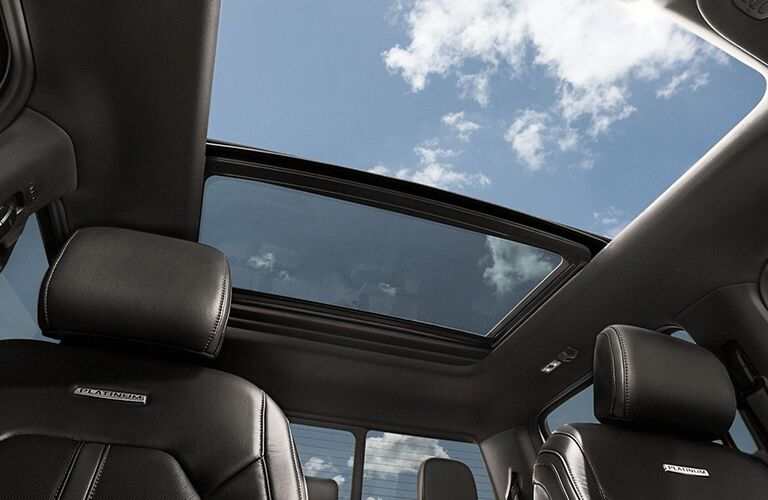 Interior view highlighting the panoramic sunroof of a 2019 Ford F-150.